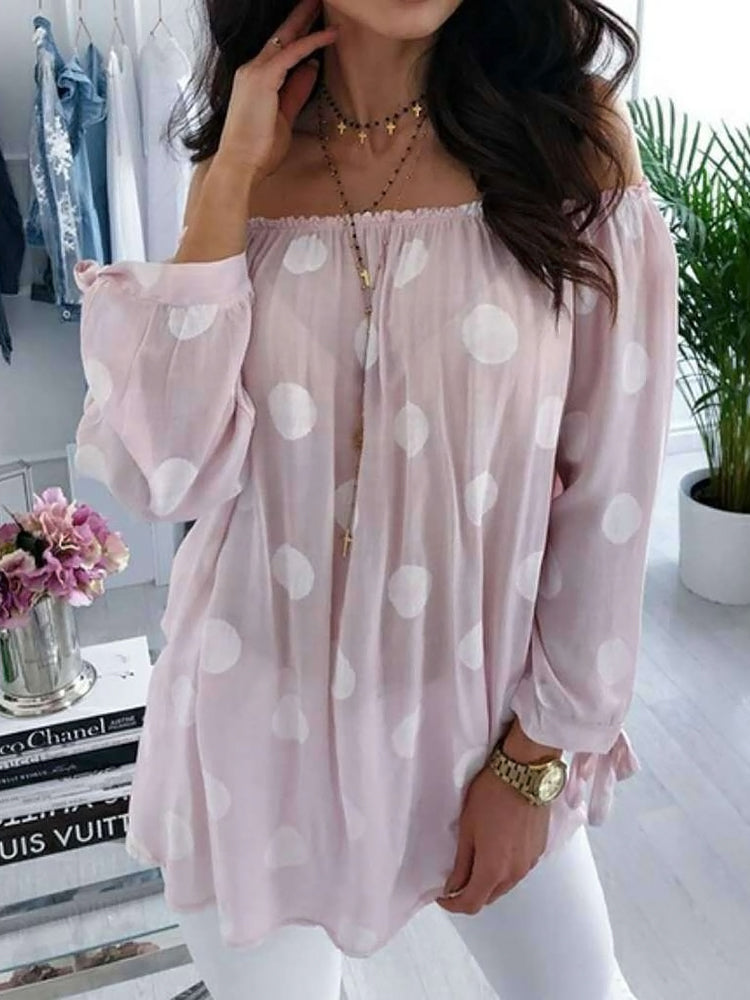 Polka Dots Off Shoulder Print Mid-Length Nine Points Sleeve Blouse