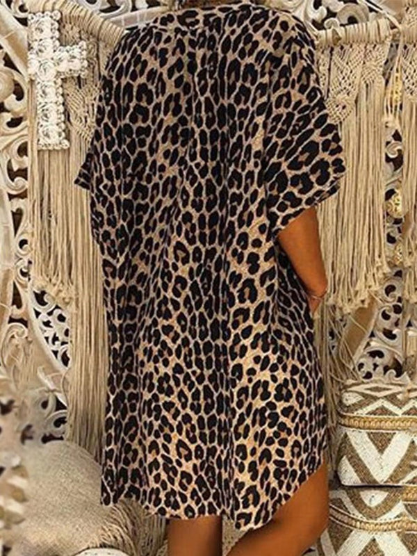 Print Leopard Mid-Length Short Sleeve Blouse