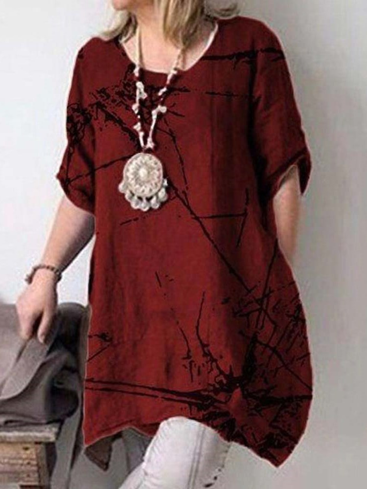 Half Sleeve Round Neck Mid-Length Casual Loose T-Shirt