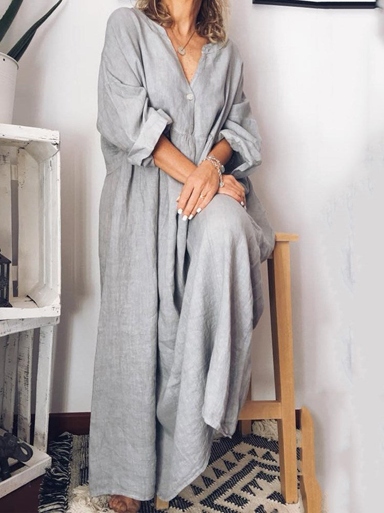 Patchwork Ankle-Length Three-Quarter Sleeve Plain Pullover Dress