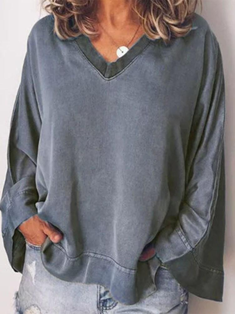 Plain V-Neck Long Sleeve Loose Casual T-Shirt