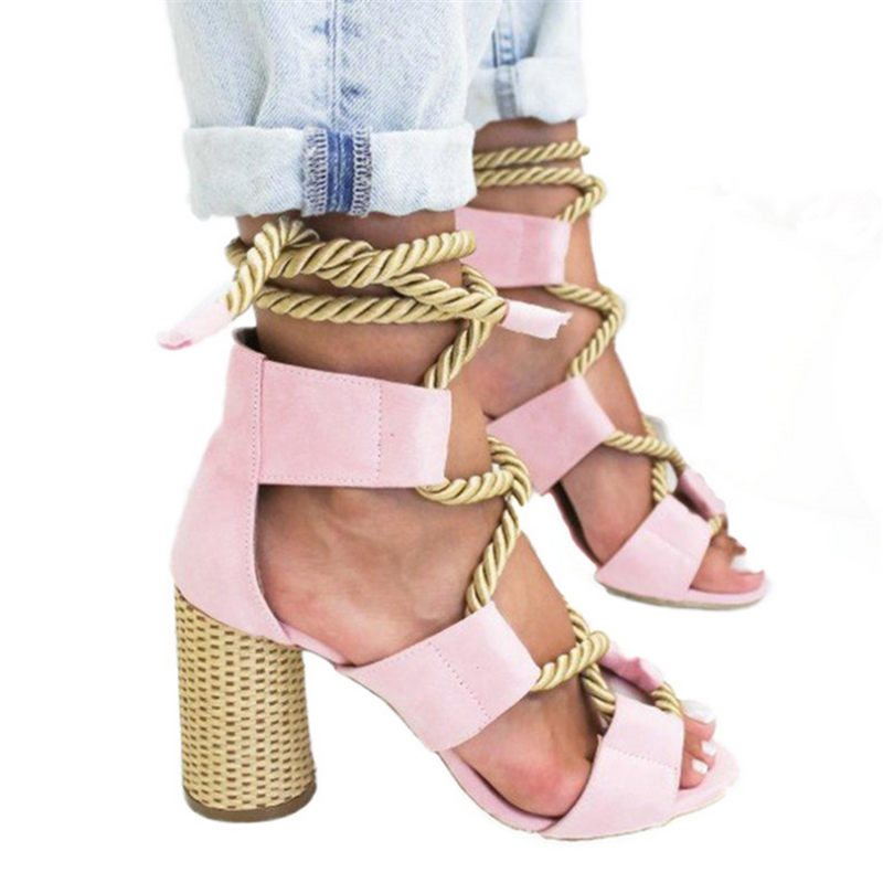 Open Toe Lace-Up Sandals