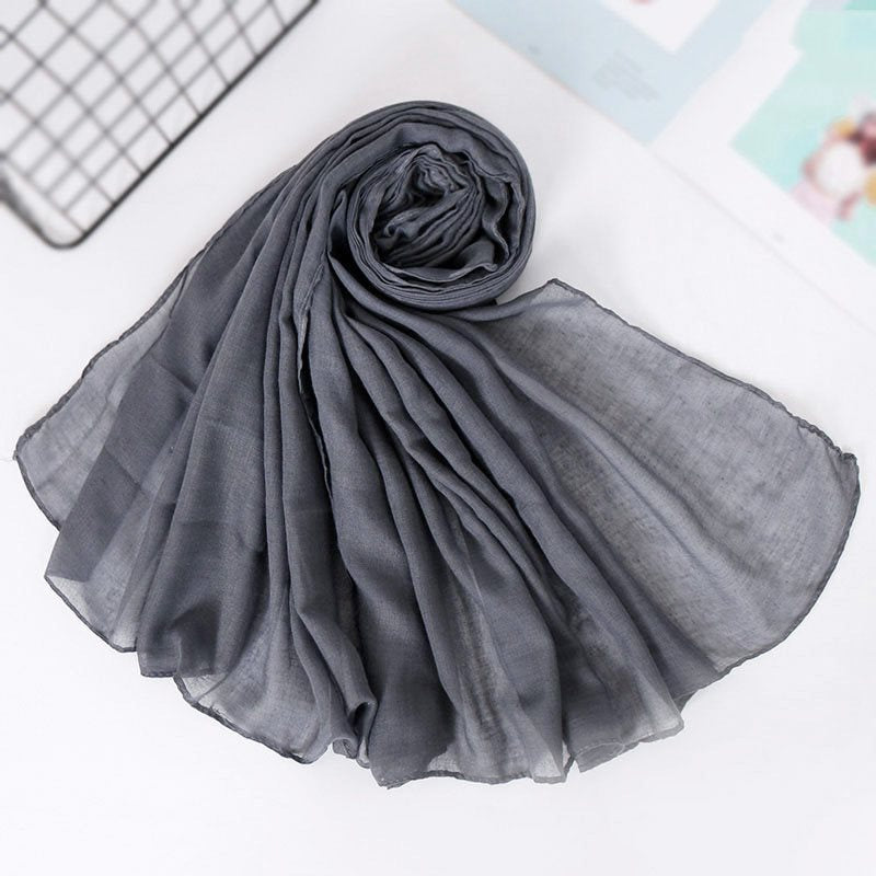 Scarf Cotton Korean Style Plain Scarves