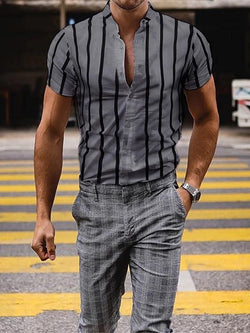 Stand Collar Casual Stripe Single-Breasted Summer Shirt