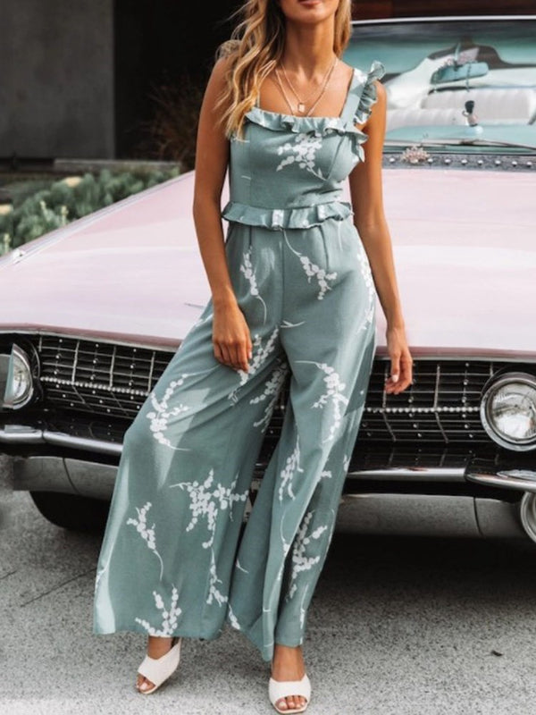 Fashion Full Length Print Wide Legs High Waist Jumpsuit