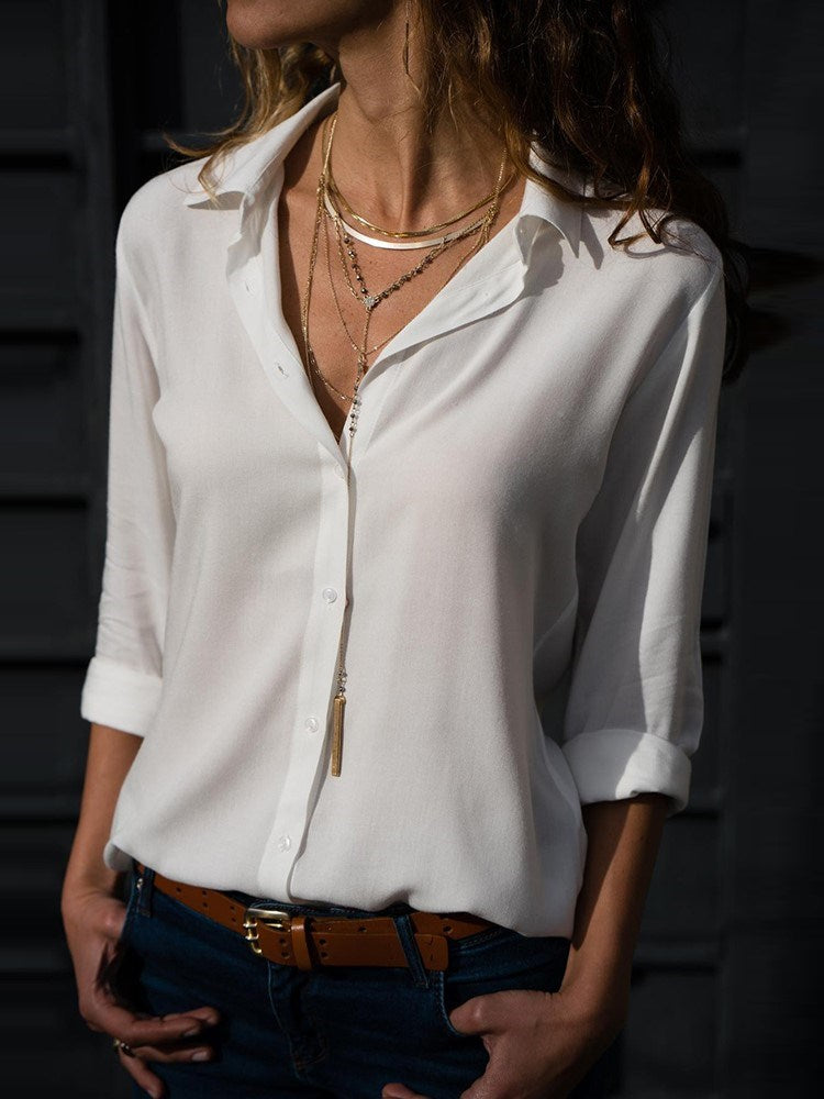 Regular Lapel Plain Long Sleeve Mid-Length Blouse