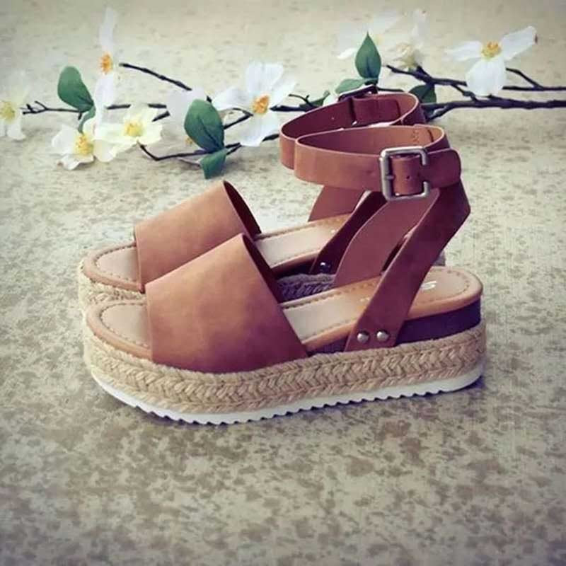 Ankle Strap Open Toe Buckle Wedge Heel Buckle Casual Sandals