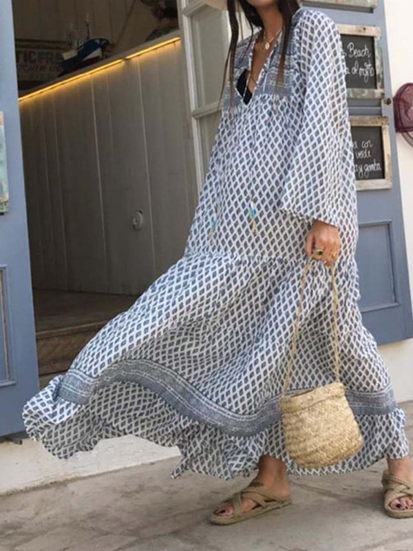 Ankle-Length Print Long Sleeve Regular Pullover Dress