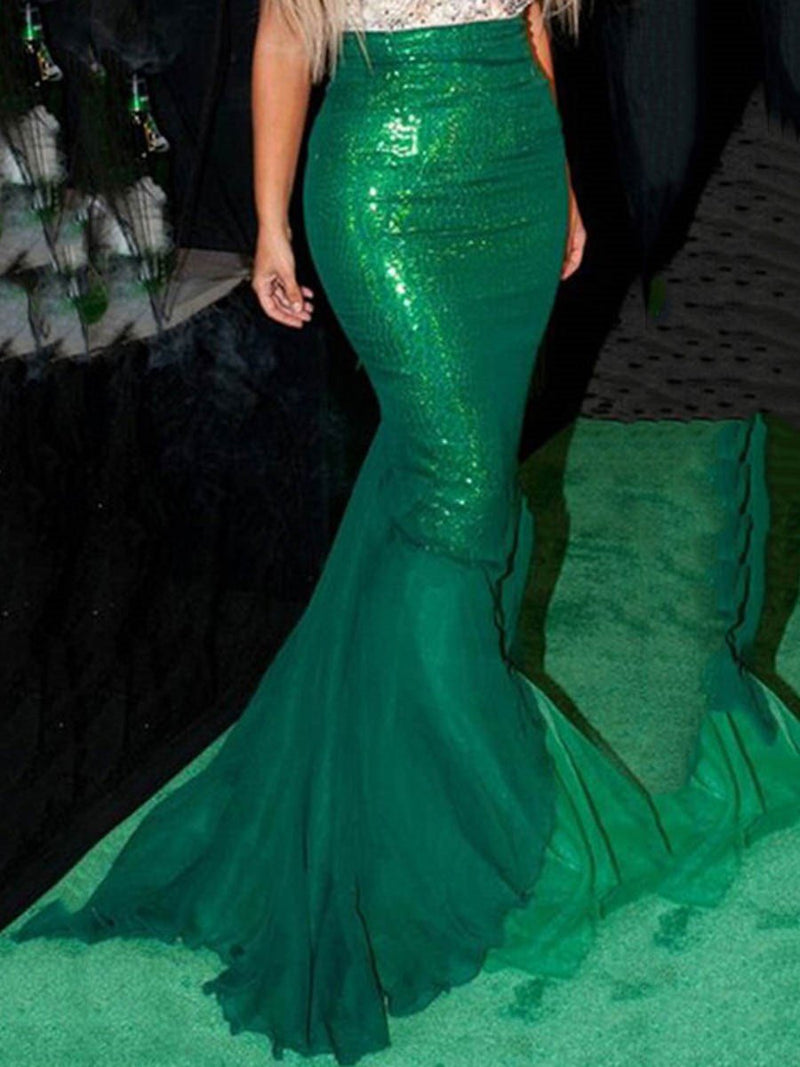 Mermaid Patchwork Floor-Length High-Waist Skirt