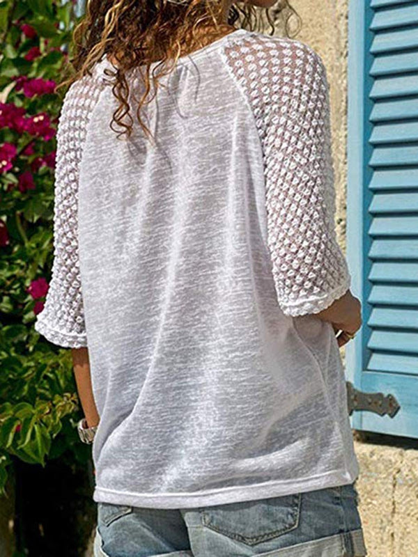 Plain Three-Quarter Sleeve Mid-Length Loose Casual T-Shirt