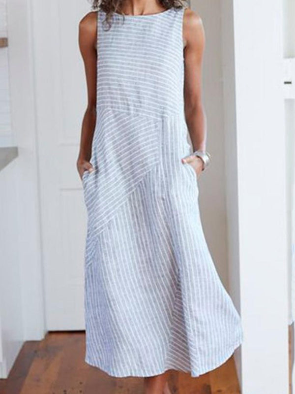 Patchwork Sleeveless Round Neck Stripe Casual Dress
