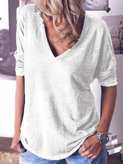 Mid-Length Plain Three-Quarter Sleeve Loose Casual T-Shirt