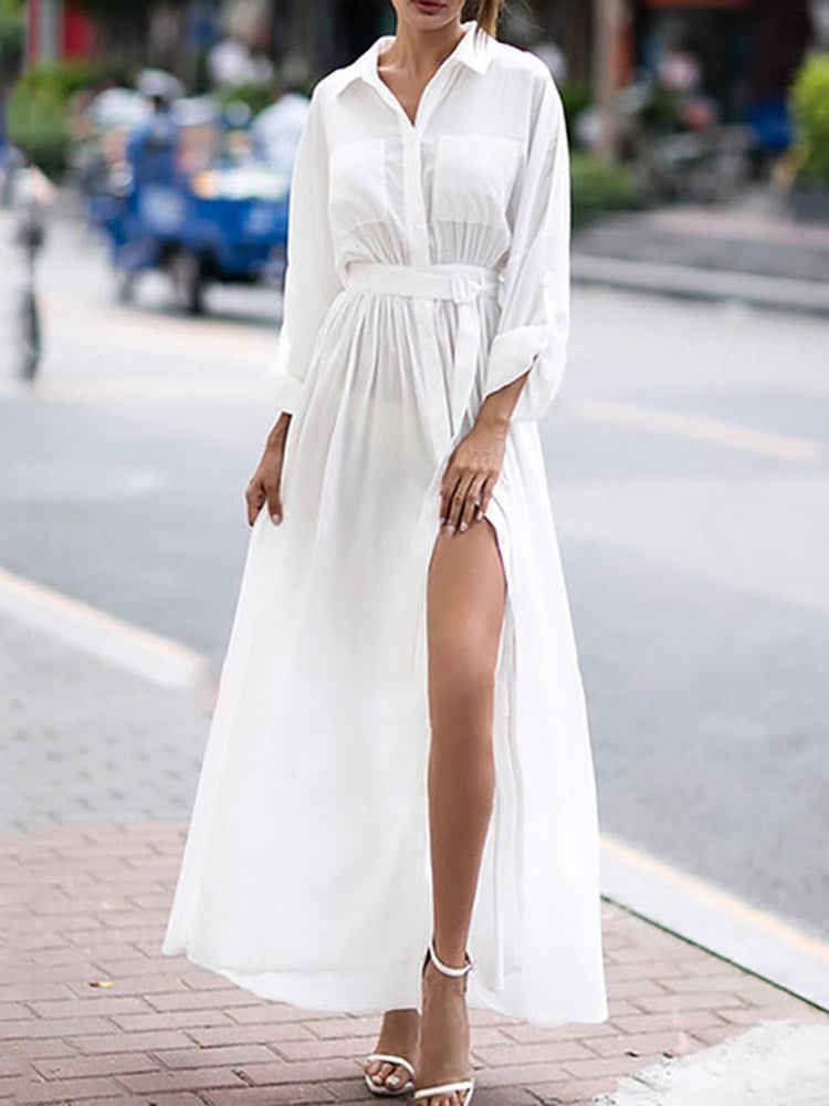 Ankle-Length Long Sleeve Pocket Single-Breasted Expansion Dress