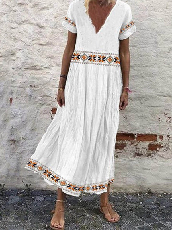 V-Neck Mid-Calf Print Ethnic A-Line Dress