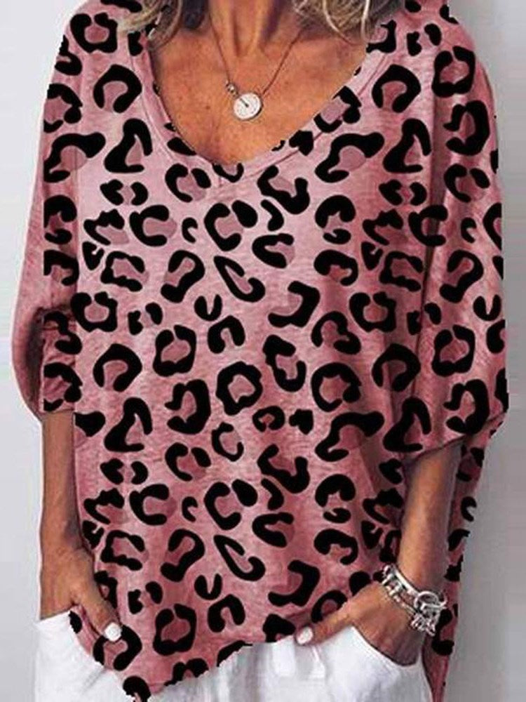 V-Neck Leopard Mid-Length Casual Loose T-Shirt
