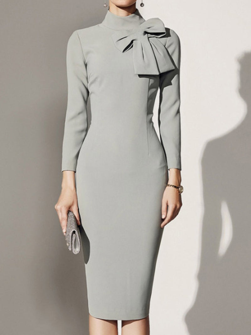 Mid-Calf Patchwork Three-Quarter Sleeve Pullover Plain Dress