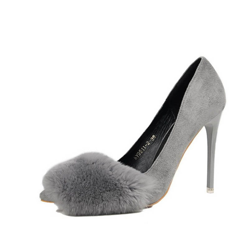Thread Stiletto Heel Pointed Toe Slip-On Plain Low-Cut Upper Thin Shoes