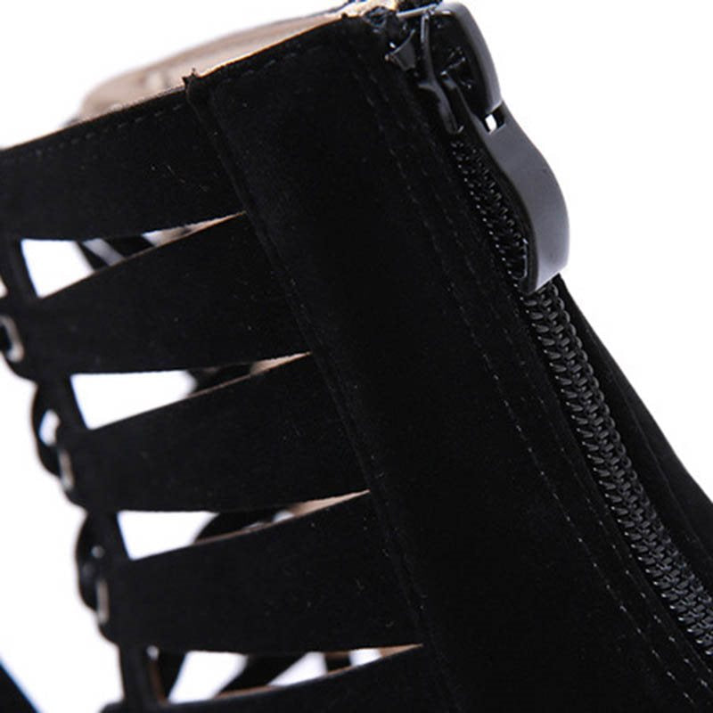 Zipper Stiletto Heel Peep Toe Thread Casual High-Cut Upper Thin Shoes