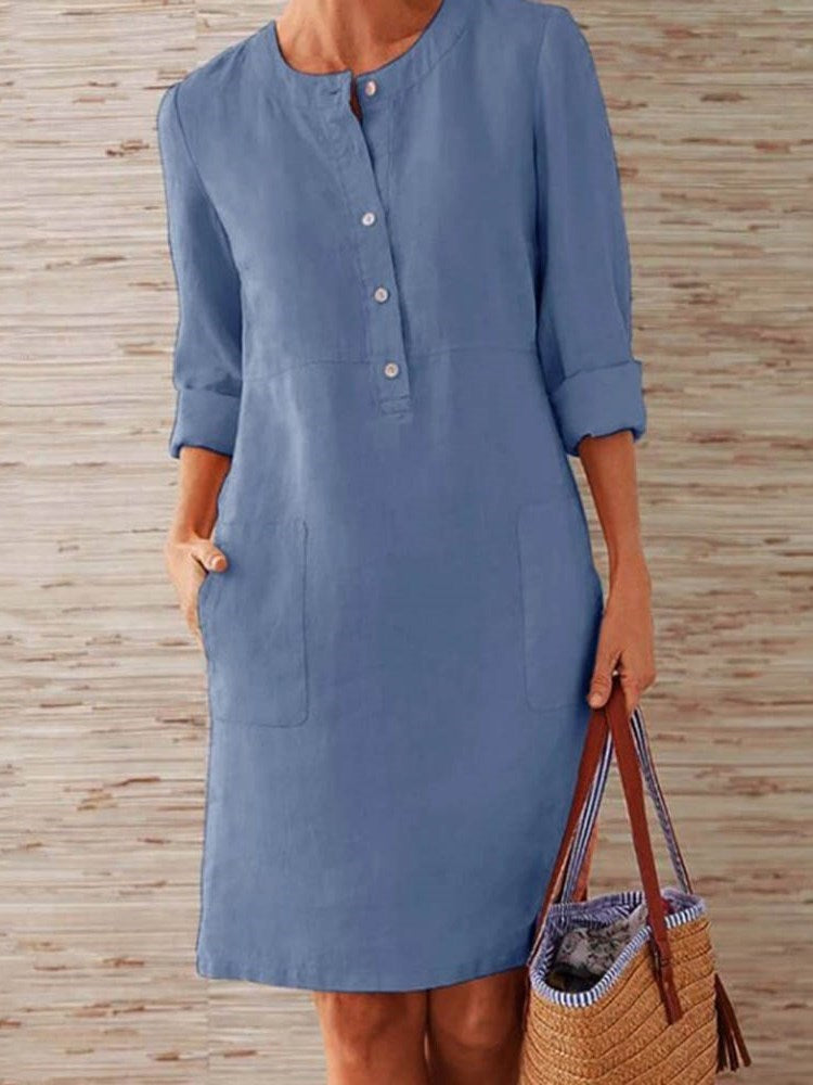 Long Sleeve Above Knee Pocket Simple Pullover Dress
