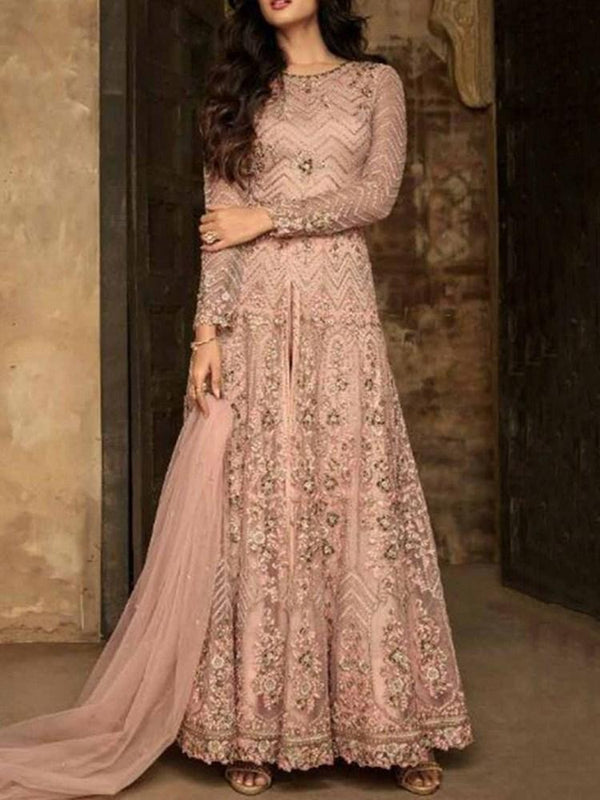 Ethnic Dress Embroidery Floor-Length Nine Points Sleeve Sweet Pullover Dress Diwali