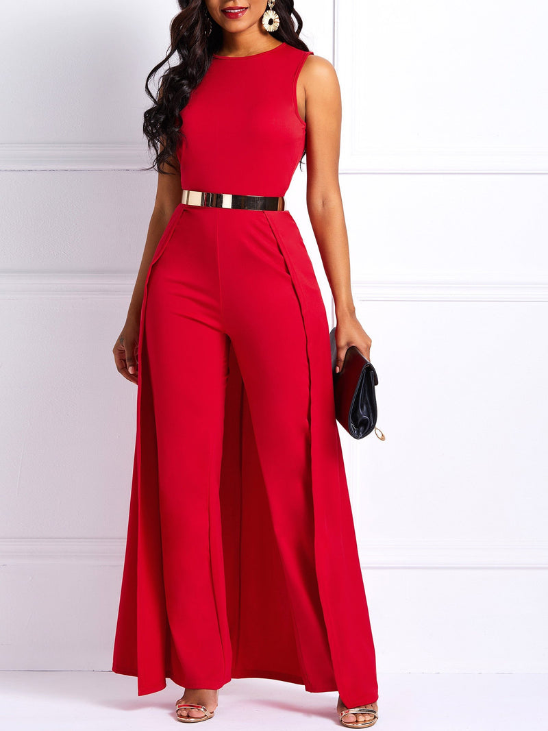 Patchwork Full Length Plain Slim High-Waist Jumpsuits
