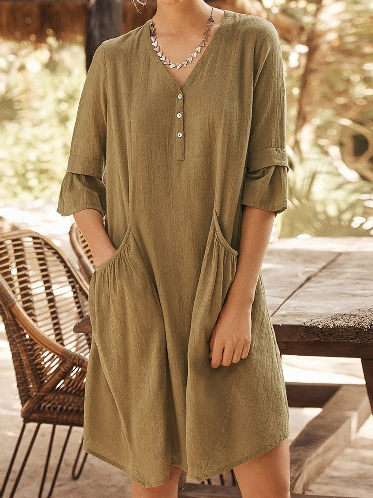 Above Knee Pocket Half Sleeve Pullover Plain Dress