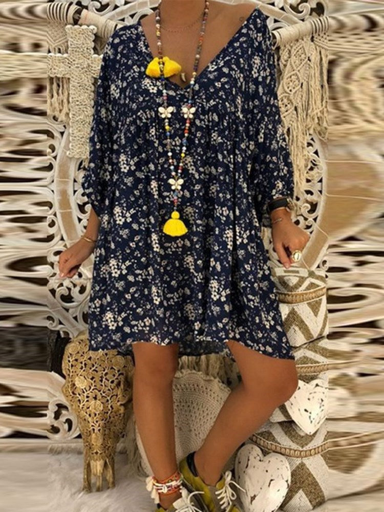 Above Knee V-Neck Print Summer Floral Dress