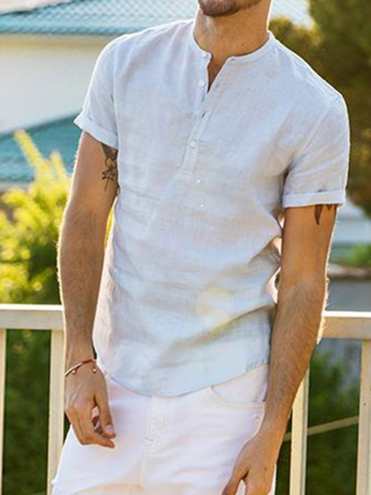 Casual Plain Button Short Sleeve Loose T-shirt