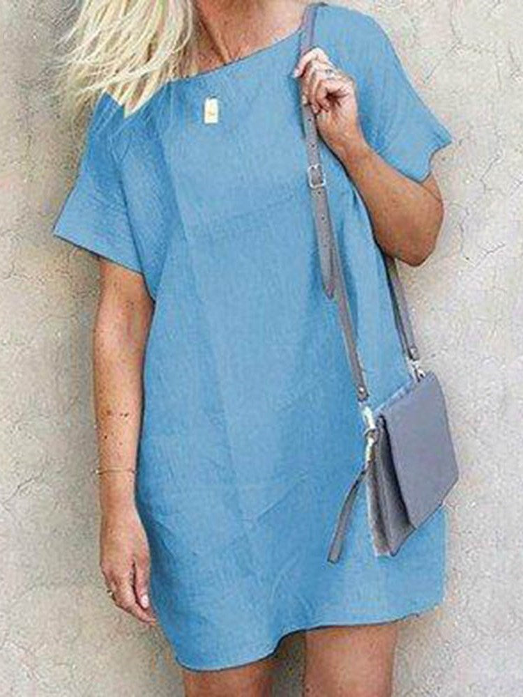Round Neck Short Sleeve Above Knee Pullover Plain Dress