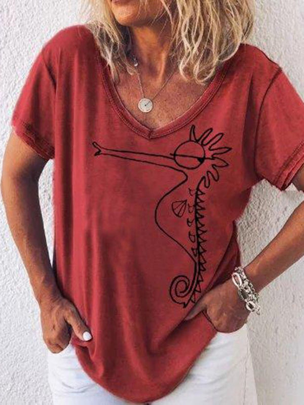 Animal V-Neck Standard Loose Casual T-Shirt