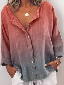 Color Block V-Neck Long Sleeve Mid-Length Blouse