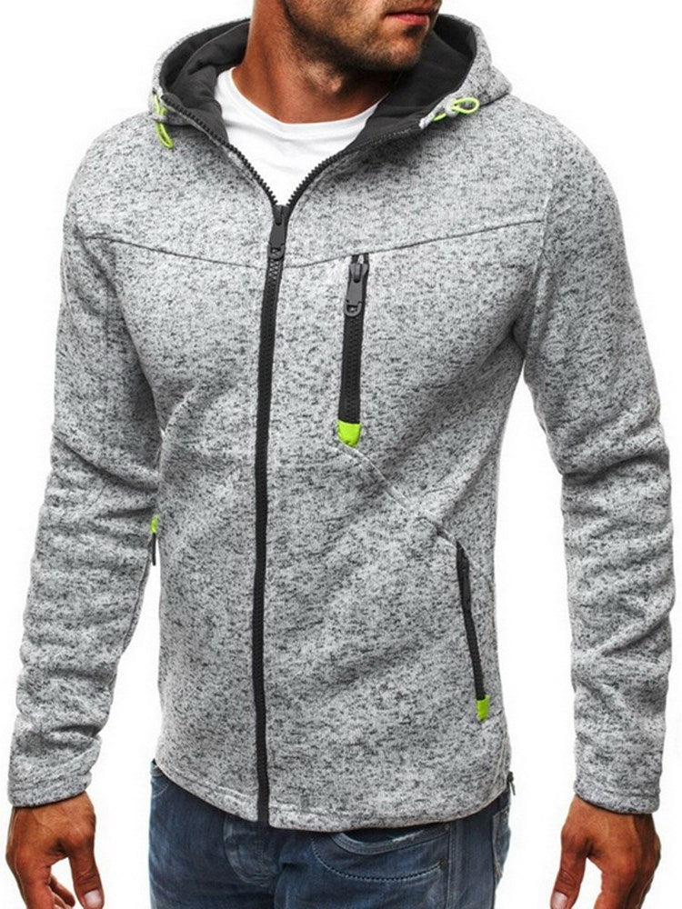 Thick Color Block Cardigan Zipper Fall Hoodies