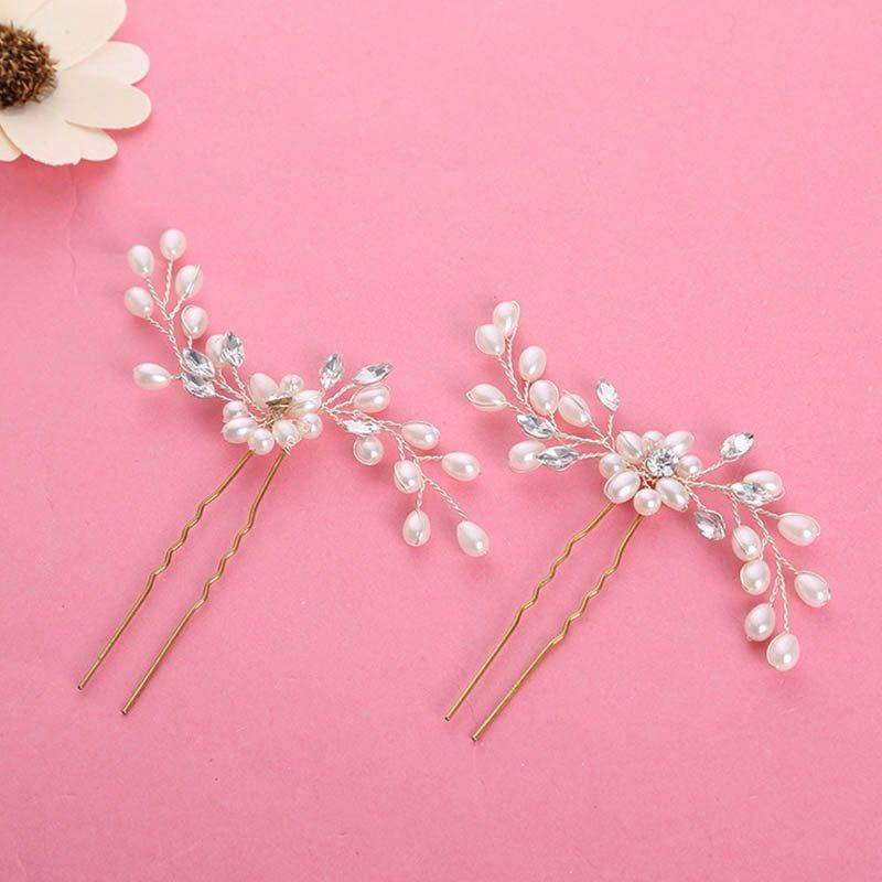 Pearl Inlaid Geometric Hair Stick Engagement Hair Accessories