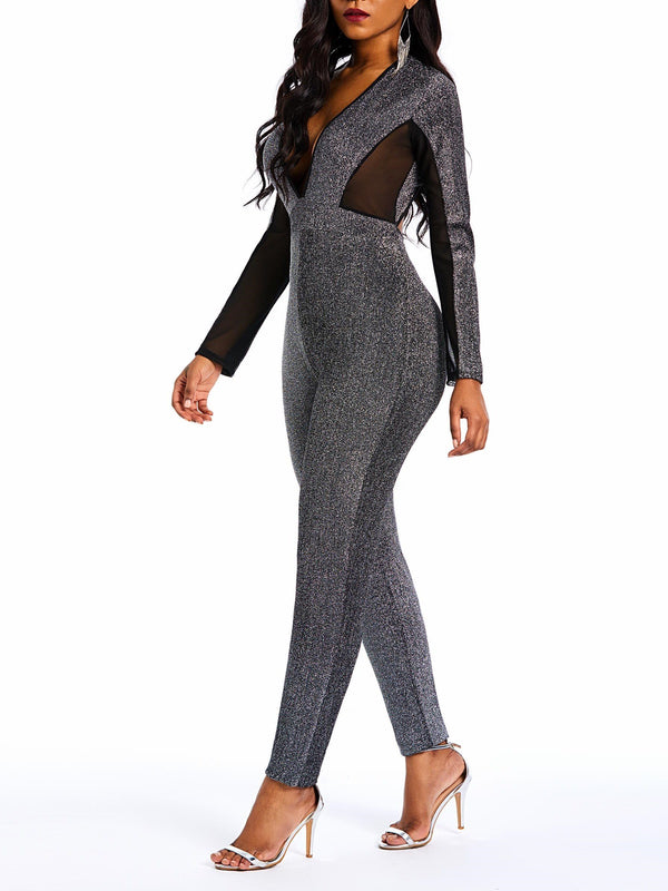 Ankle Length Casual Patchwork Pencil Pants Mid-Waist Jumpsuits