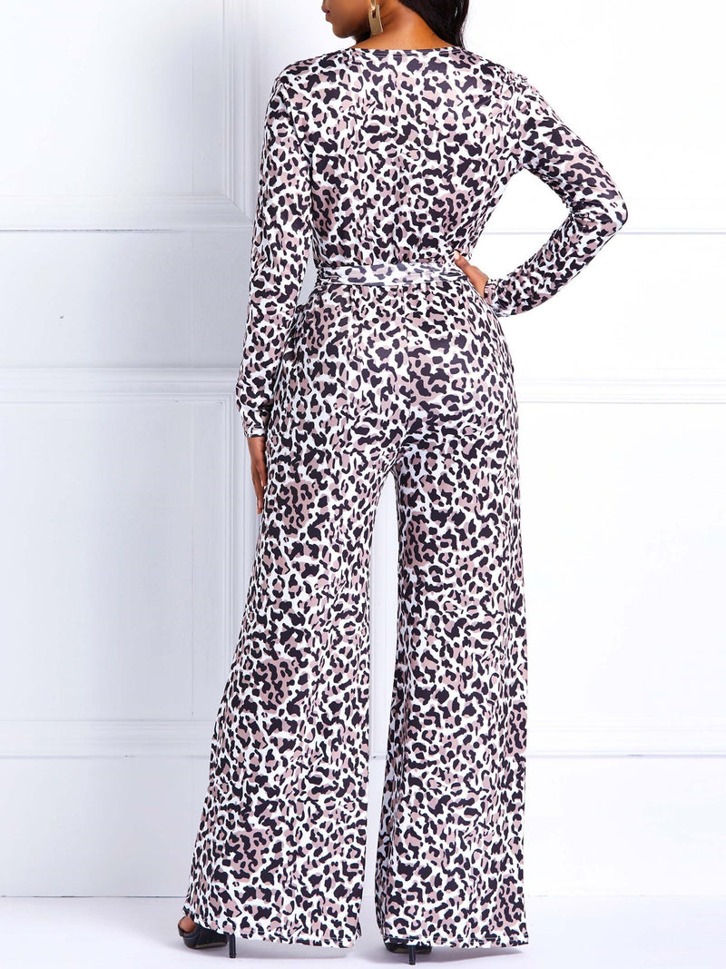 Full Length Print Leopard Wide Legs Loose Jumpsuits