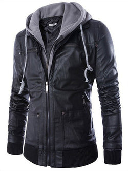 Plain Hooded Standard Spring Straight Leather Jacket
