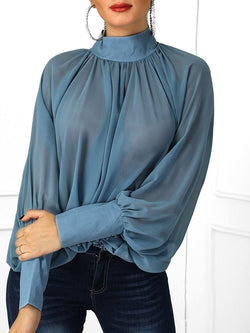 Turtleneck Plain See-Through Long Sleeve Standard Blouse