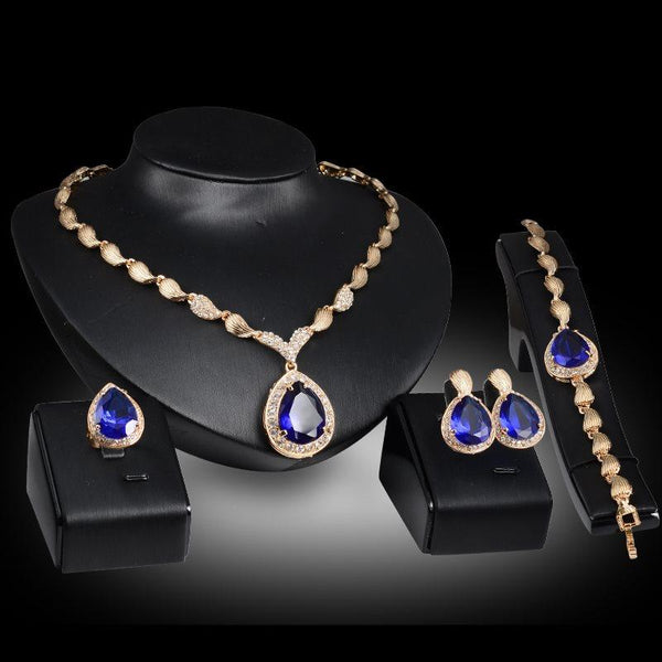 Necklace Geometric Gemmed Wedding Jewelry Sets