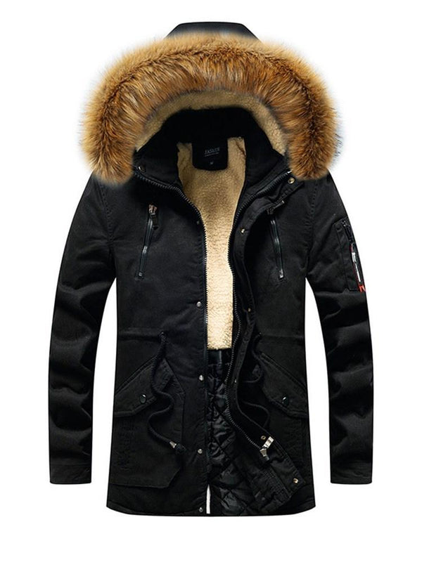 Hooded Patchwork Mid-Length European Zipper Down Jacket