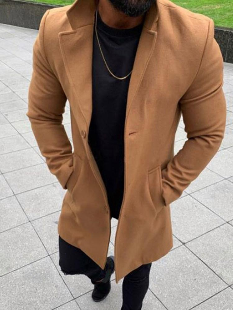 Plain Button Mid-Length Single Loose Trench Coat