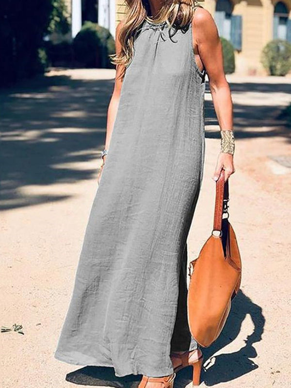 Sleeveless Ankle-Length Casual Pullover Dress