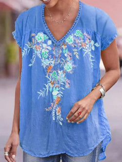 V-Neck Asymmetric Floral Mid-Length Short Sleeve Blouse