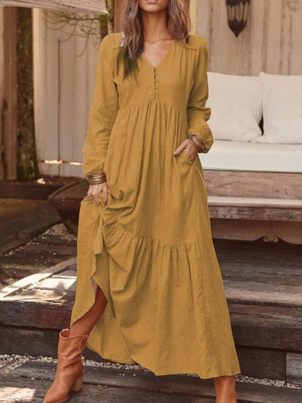 V-Neck Long Sleeve Button Plain A-Line Dress