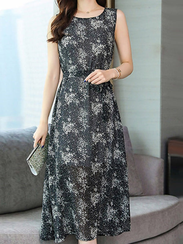 Mid-Calf Sleeveless Print Pullover A-Line Dress