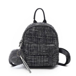 Thread Wool Blends Plaid Backpacks