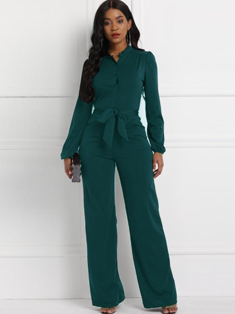 Lace-Up Casual Full Length Straight High-Waist Jumpsuits