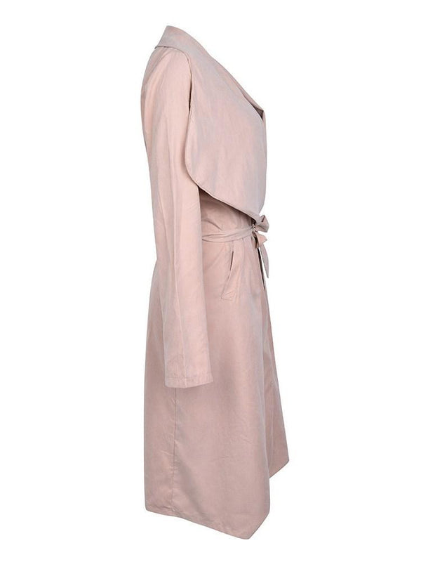 Elegant Lapel Lace-up Long Trench Coat
