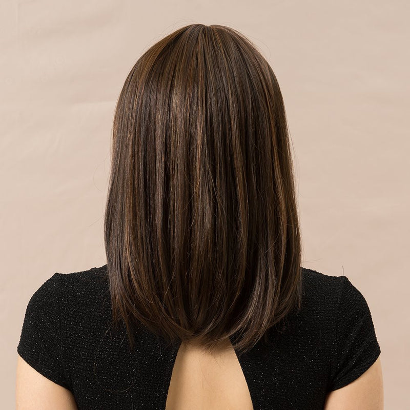 Women Human Hair Blend Wigs Natural Straight Capless 14 Inches Wigs