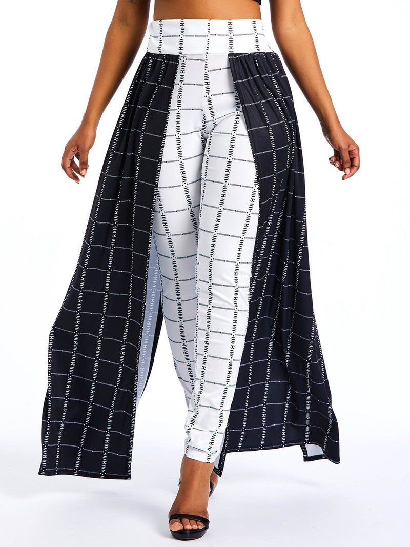 Plaid Loose Patchwork High-Waist Wide Legs Casual Pants