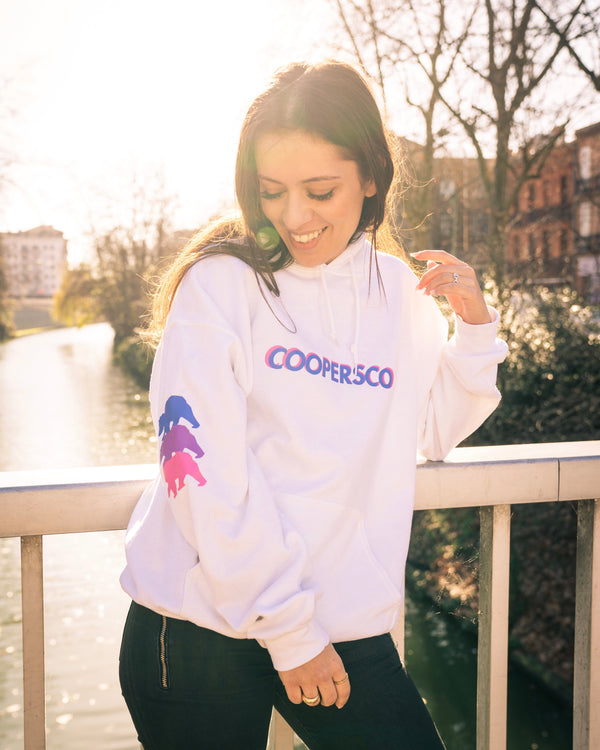 "Hoodie Coopersco concept n°4 ""retro"" blanc édition"